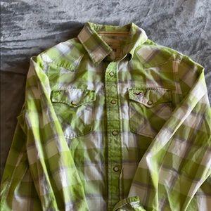 Hollister Green Button down shirt